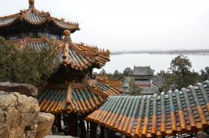 Roofscape and frozen lake at Summer Palace